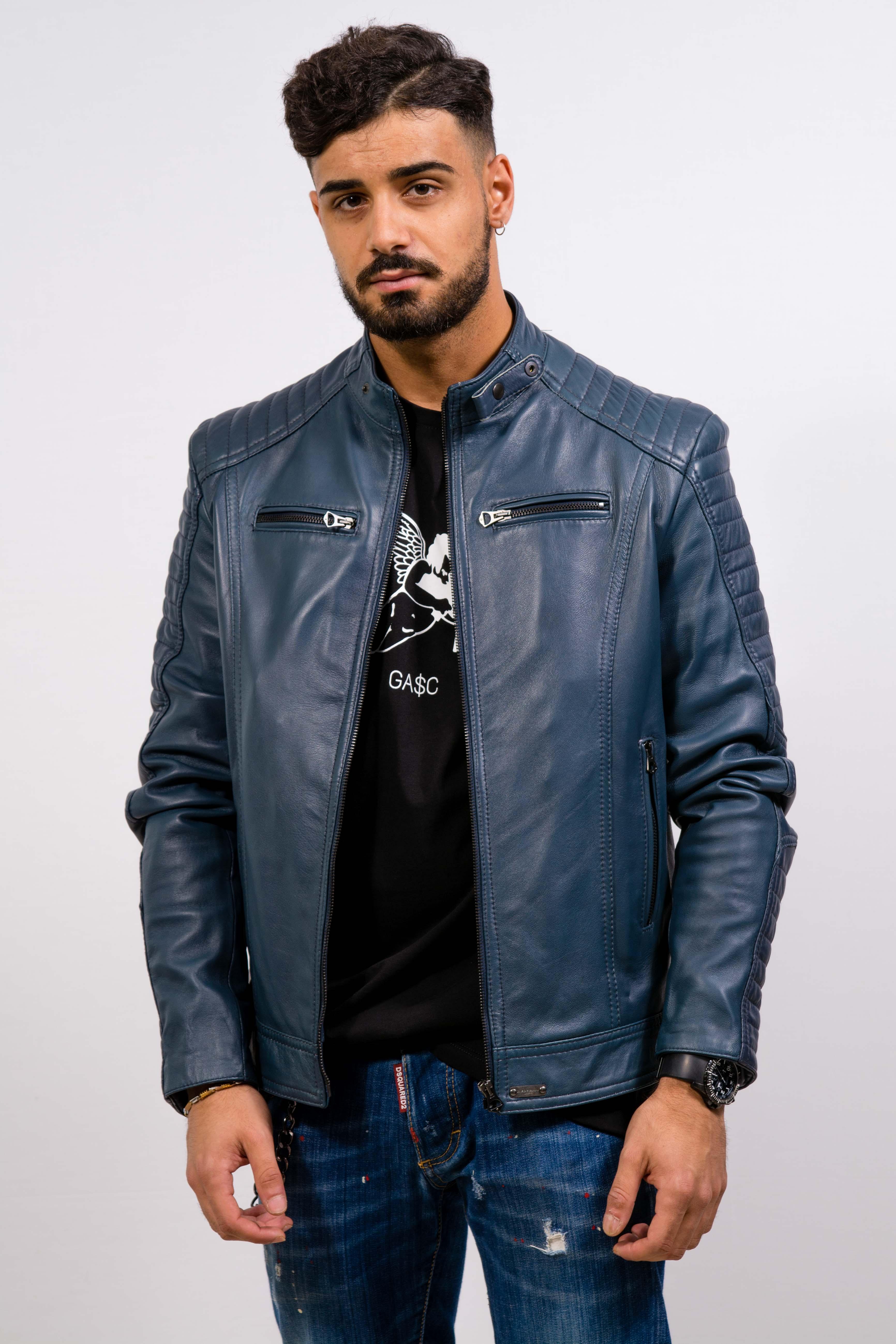 Blu Couture Giubbino Uomo In Gasc Pelle nfzzq0XF