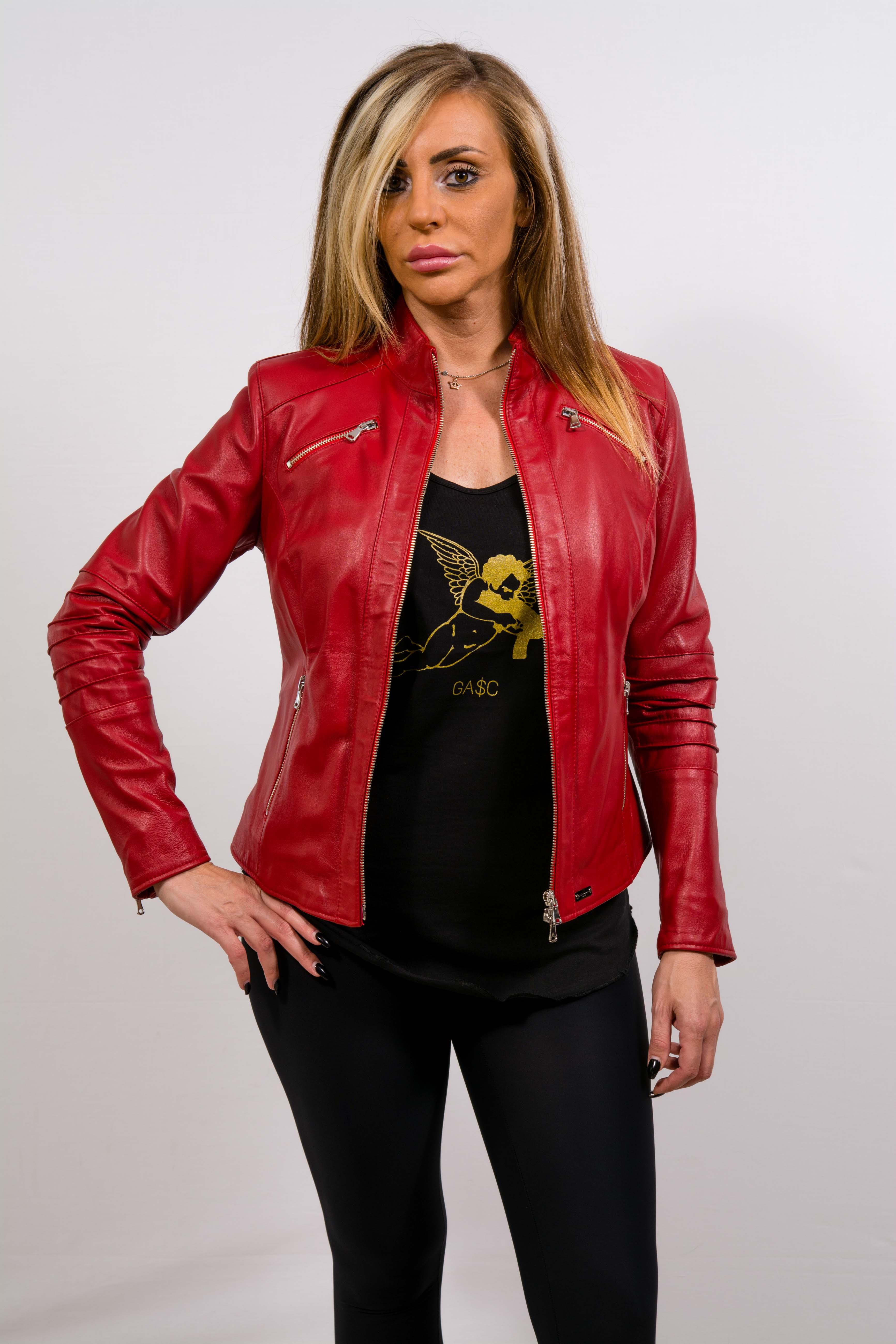 Pelle Rosso Donna Giubbino In Couture Gasc Yq5A8wA